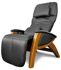 Svago Black Leather Benessere Chair With Honey Wood Legs ...