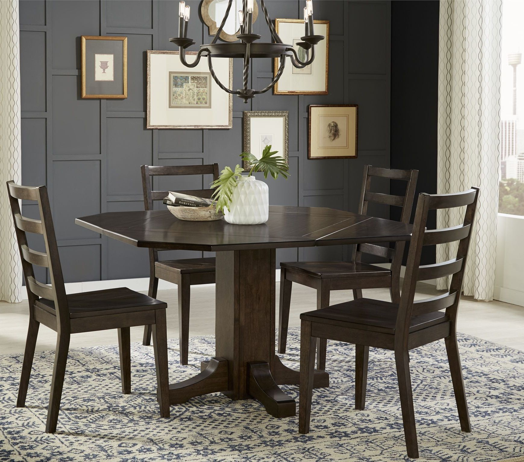 Brooklyn Heights Dark Grey Extendable Pedestal Dining Room