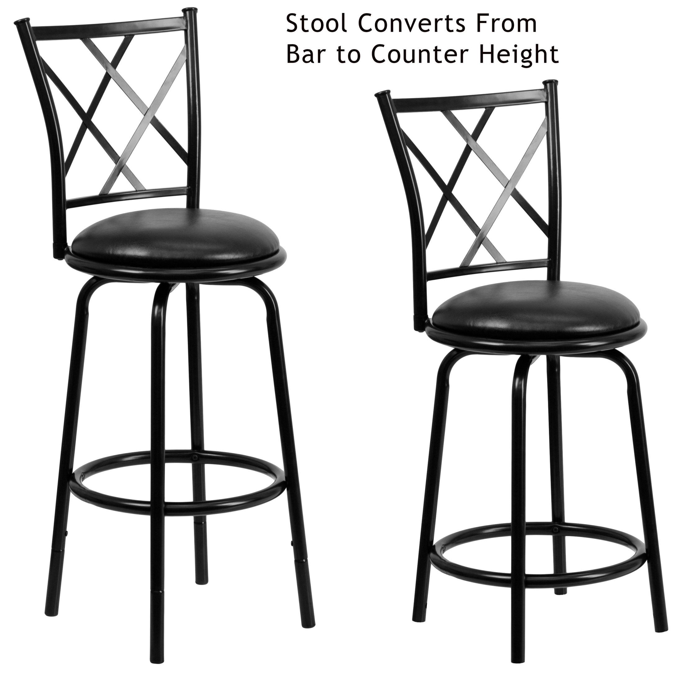 bar stool chair extenders office customer reviews 6140 29 quot black metal dual height leather swivel bs