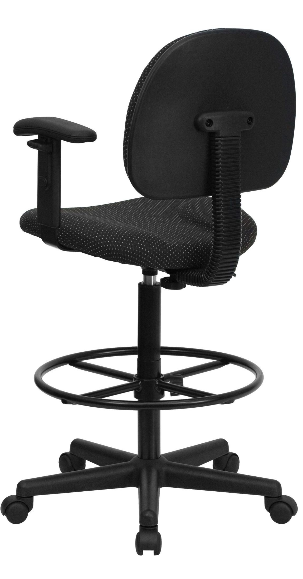 ergonomic drafting chair with arms old high parts black patterned fabric arm stool from