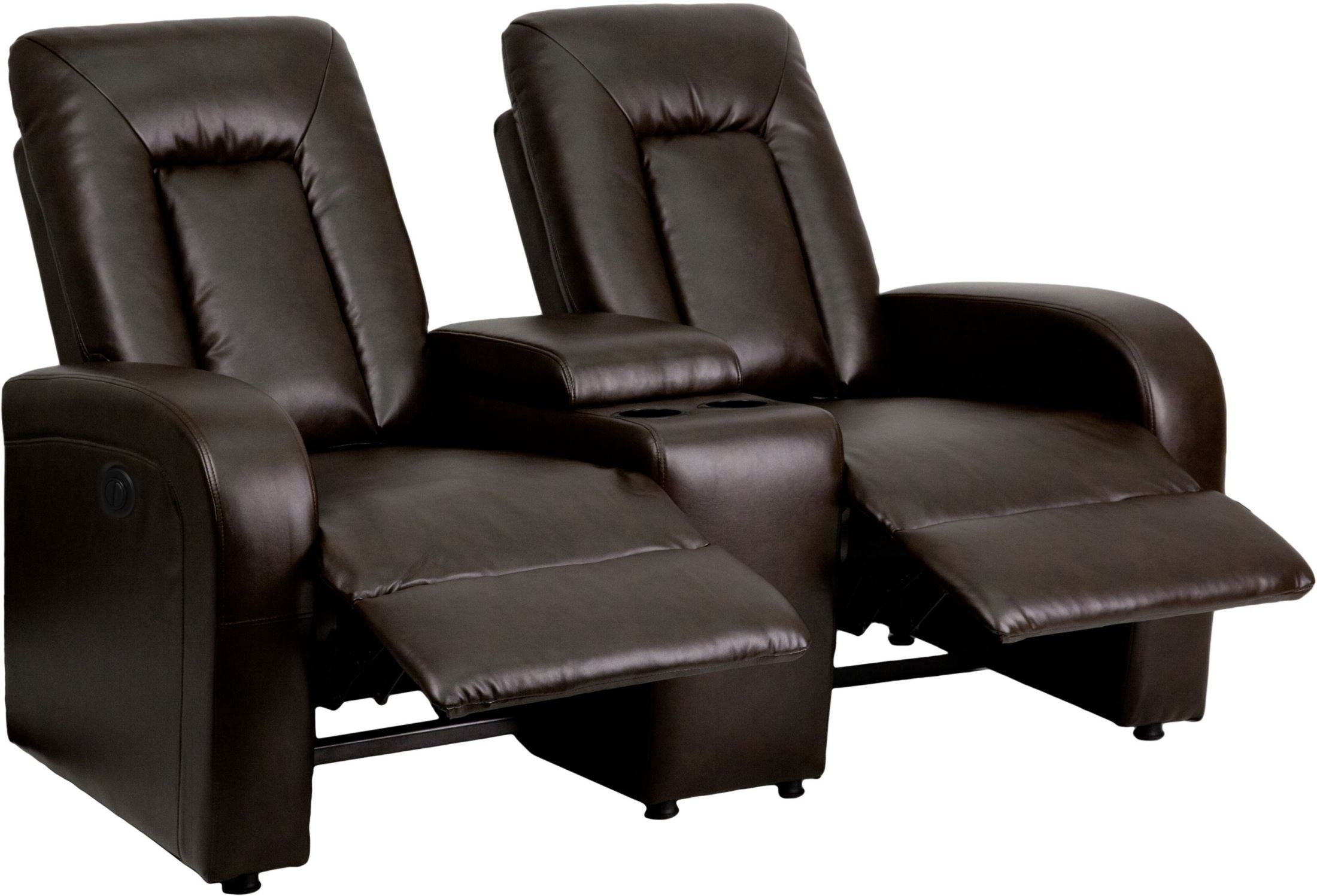 recliner chairs movie theater accent living room eclipse series automated brown leather 2 seat reclining