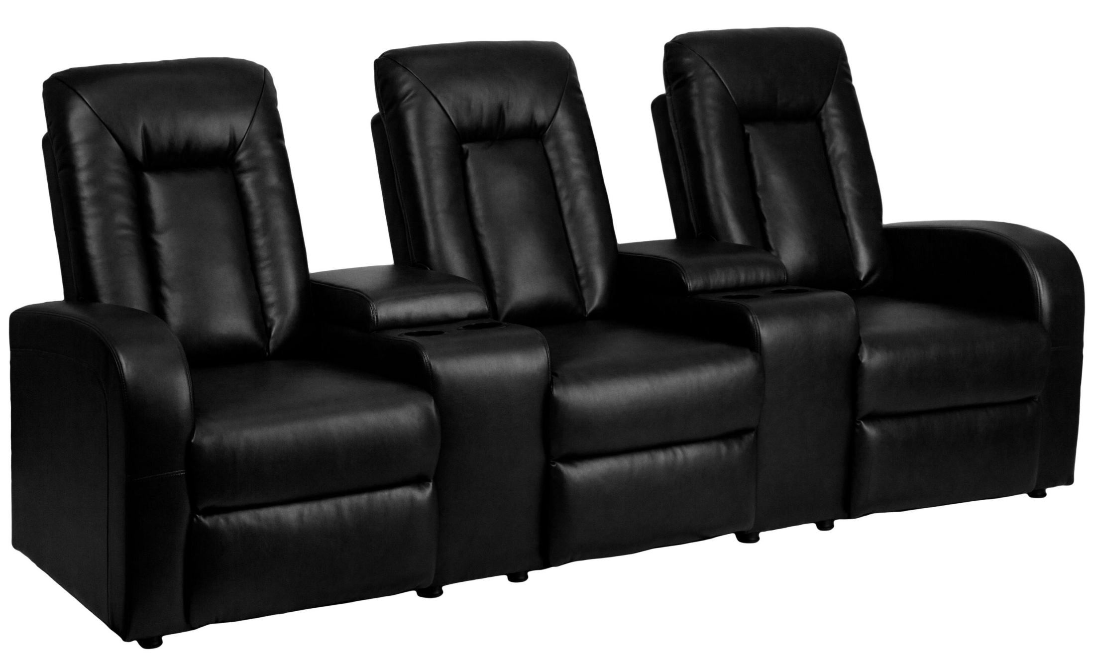 2 seat theater chairs navy parsons chair black leather 3 home console recliner from