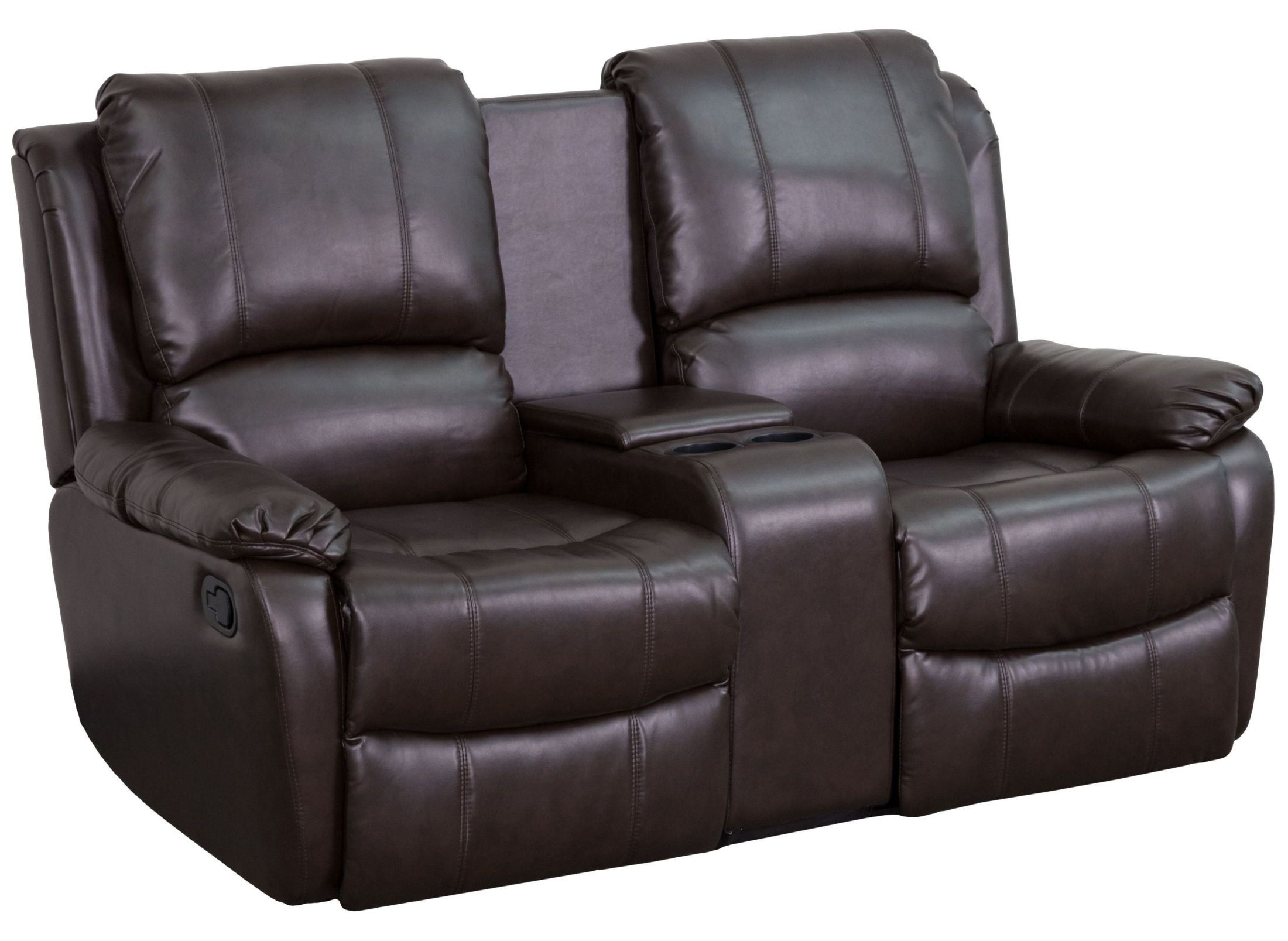 2 seat theater chairs how to hang a hammock chair indoors brown leather pillowtop home console