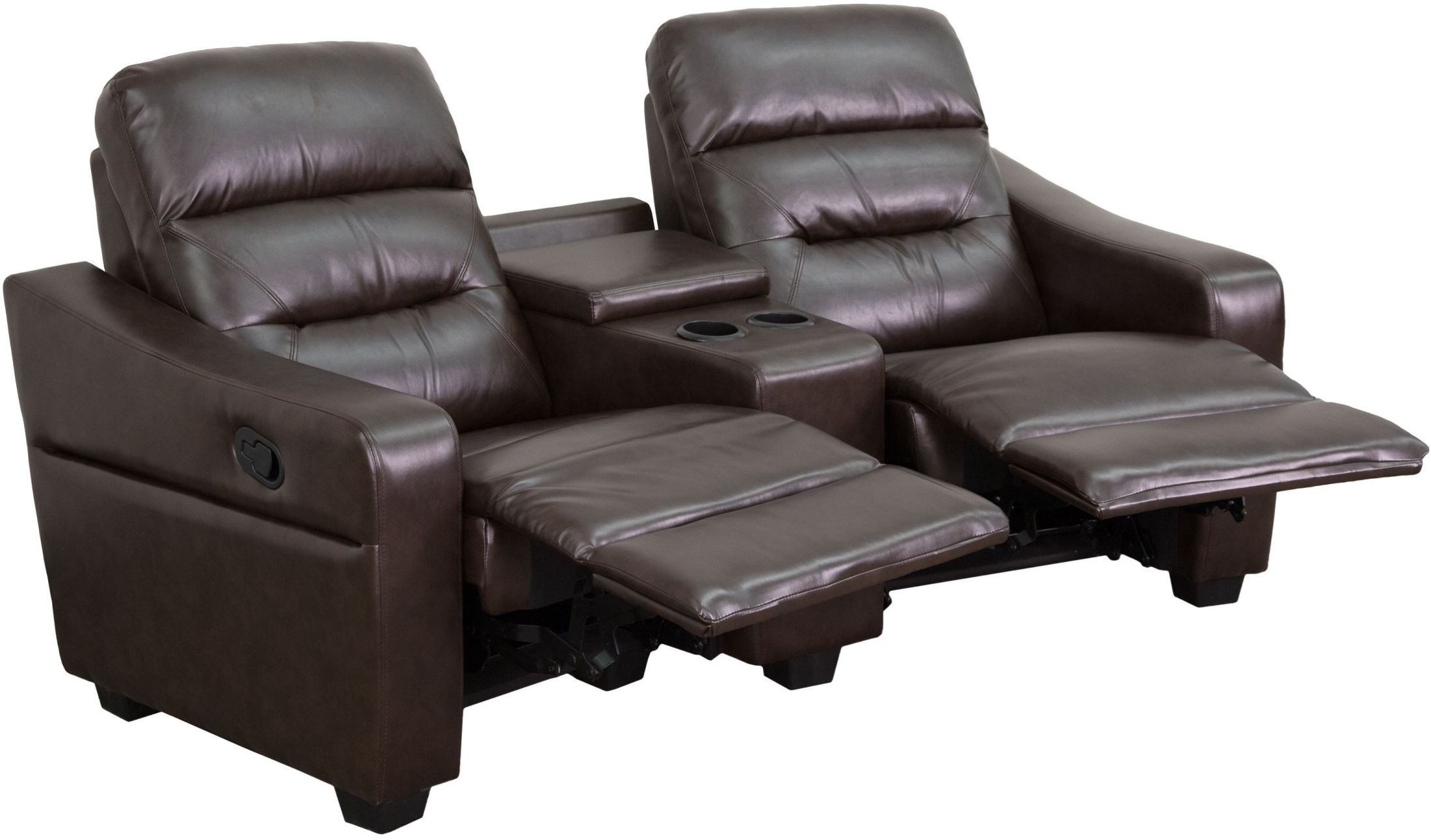 2 seat theater chairs modern mid century chair futura series reclining brown leather