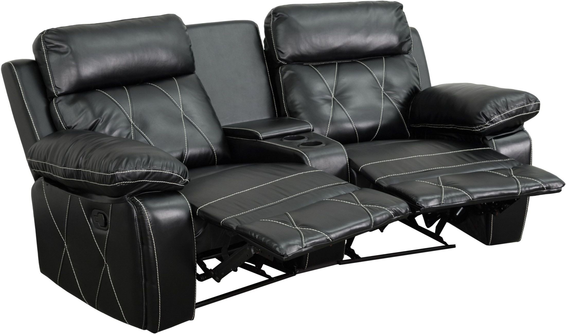 2 seat theater chairs gray and white accent reel comfort series reclining black leather