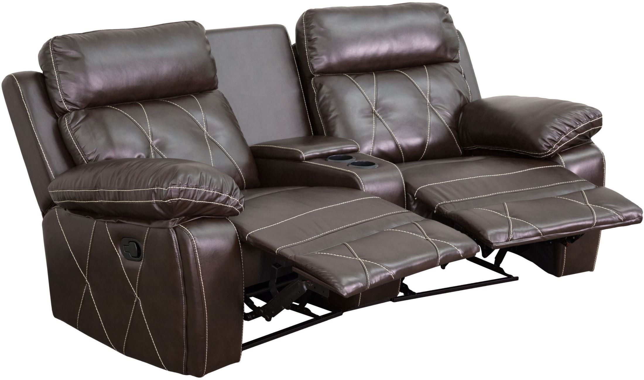 2 seat theater chairs replacement webbing for outdoor reel comfort series reclining brown leather