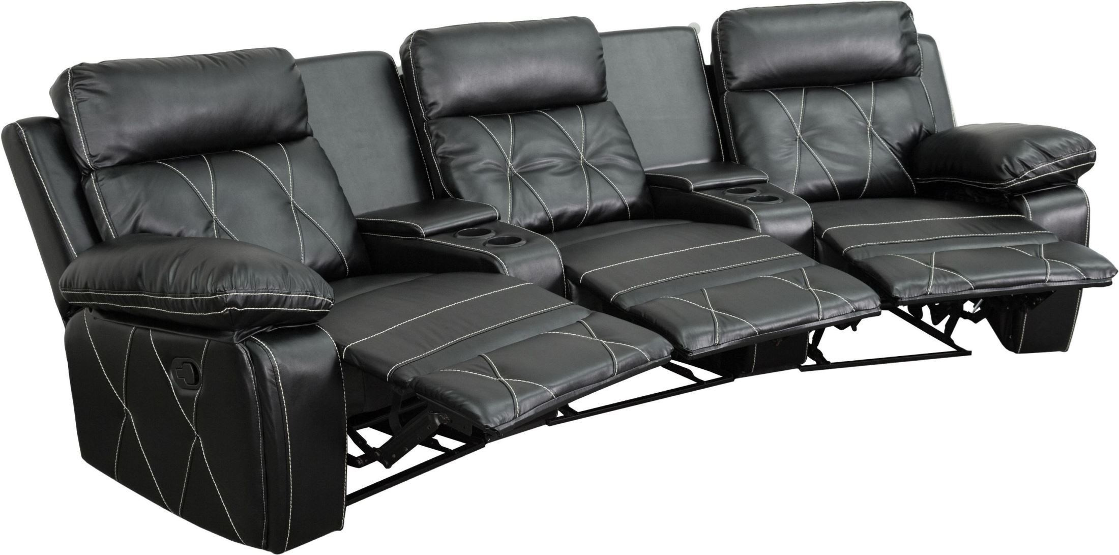 2 seat theater chairs floral chair covers ebay reel comfort series 3 reclining black leather