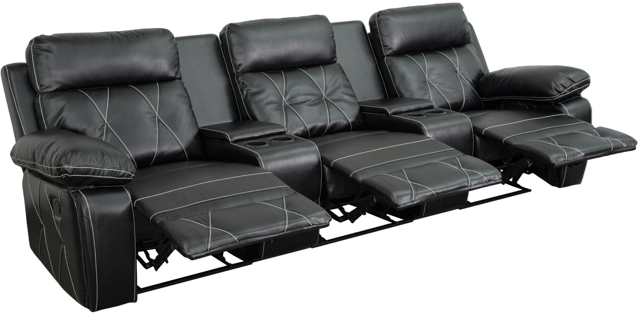 theater chairs with cup holders twin sleeper reel comfort series 3 seat reclining black leather