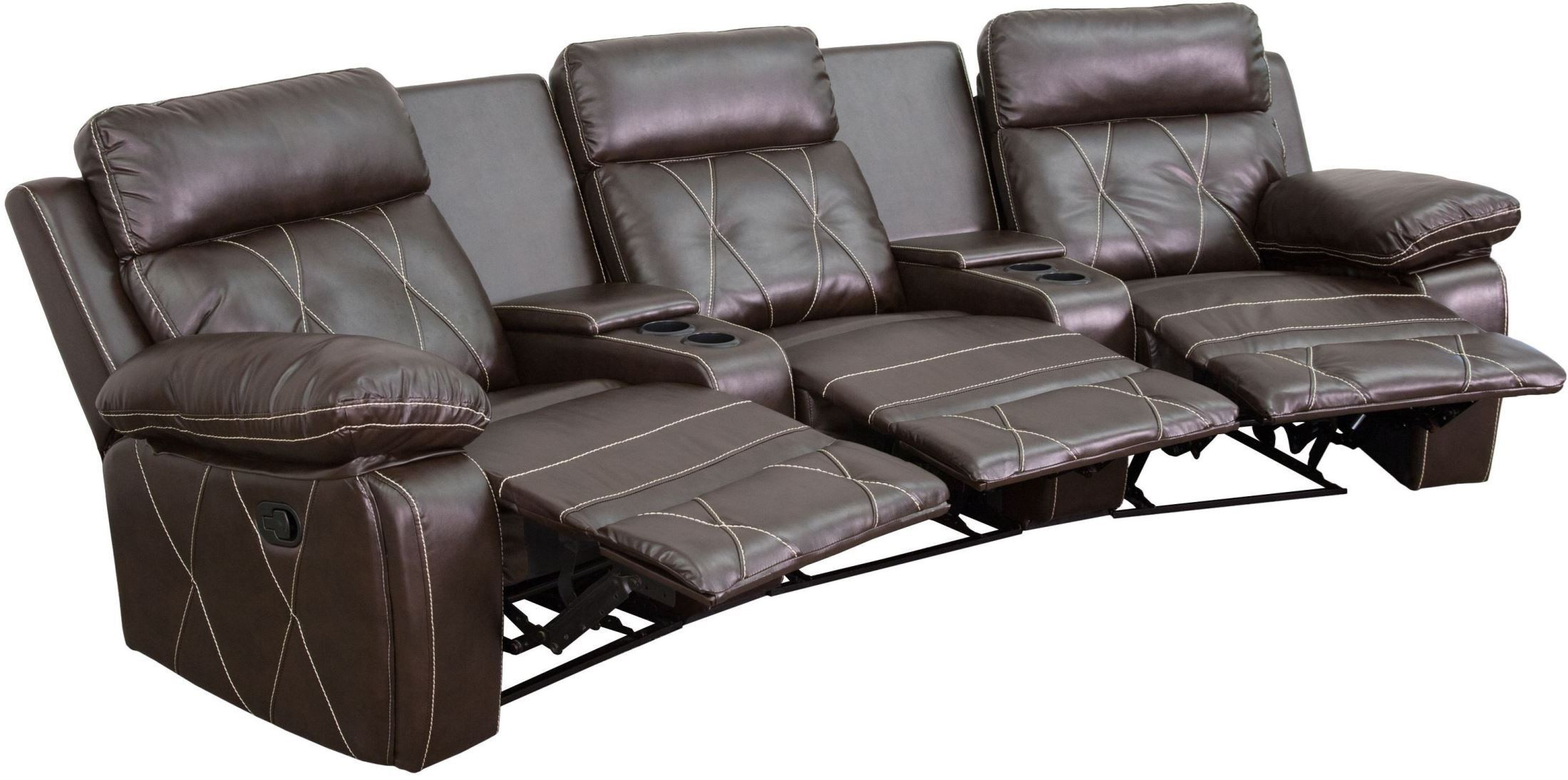 theater chairs with cup holders how to build a adirondack chair reel comfort series 3 seat reclining brown leather