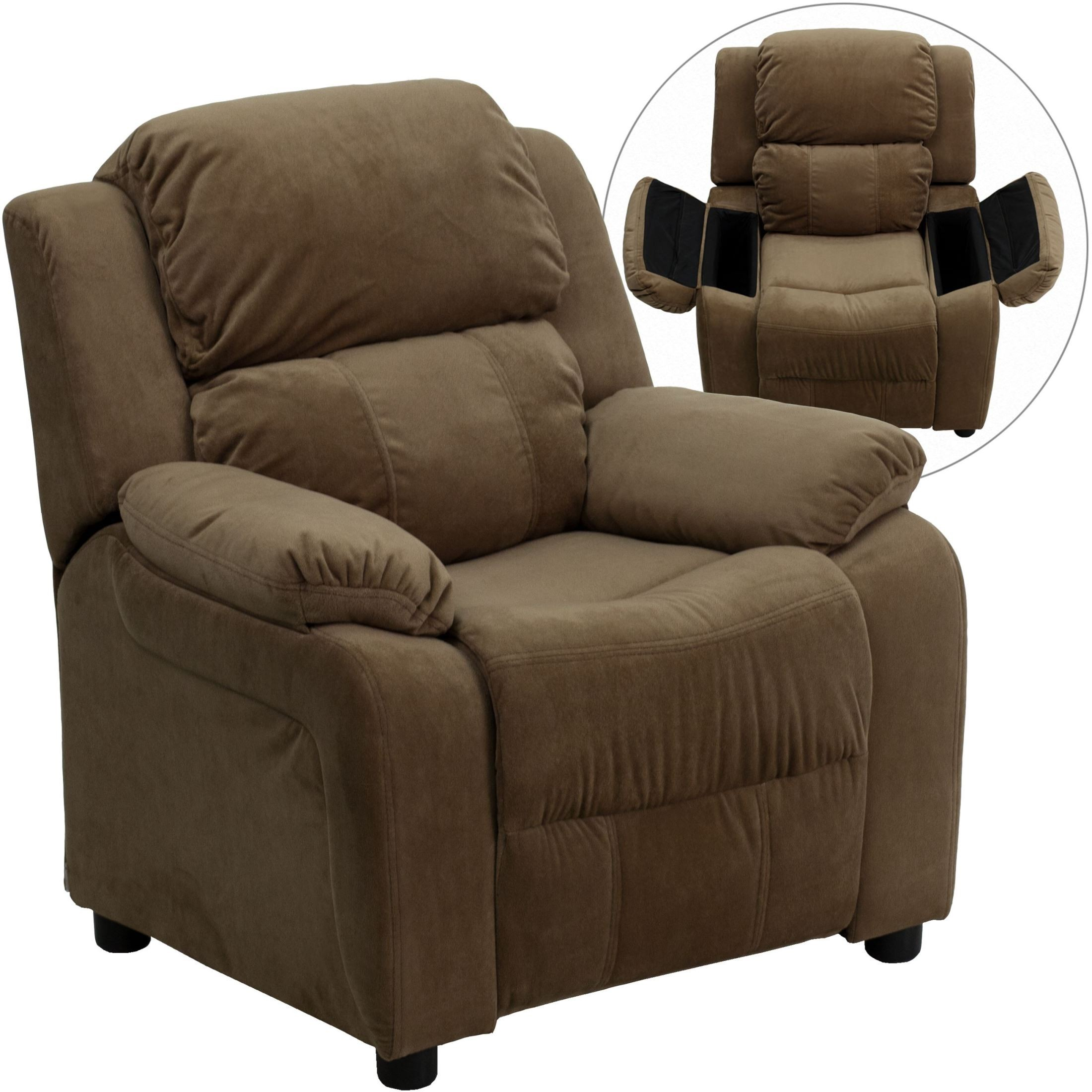Deluxe Heavily Padded Brown Kids Storage Arm Recliner from
