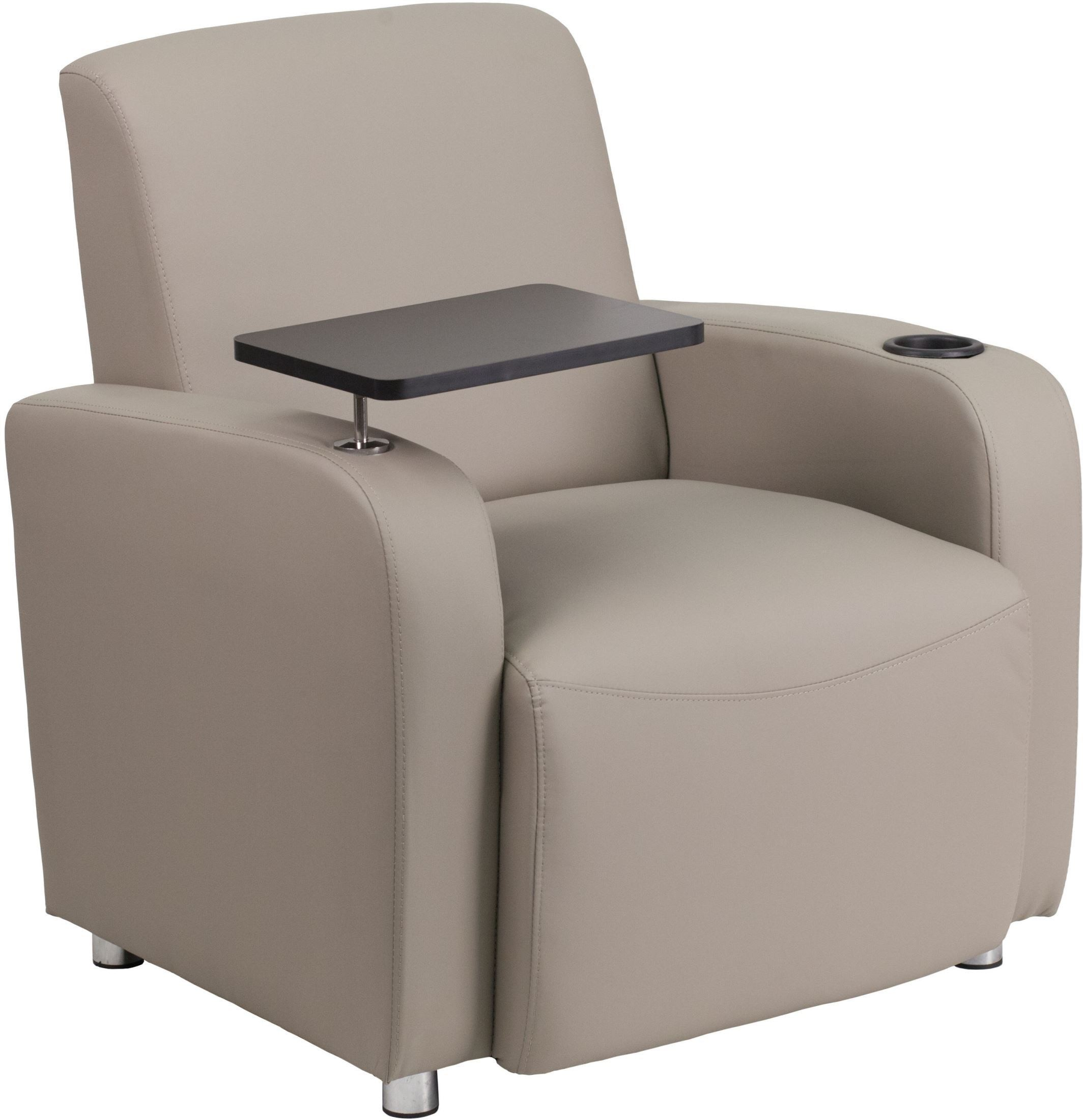 Gray Leather Guest Arm Chair with Cup Holder from Renegade