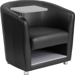 Stool Under Chair Stair Lift Maintenance Black Leather Guest With Tablet Arm Chrome Legs And