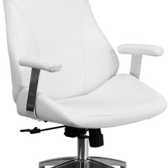 White Leather Swivel Desk Chair Abode Fishing Review High Back Bonded Executive Office