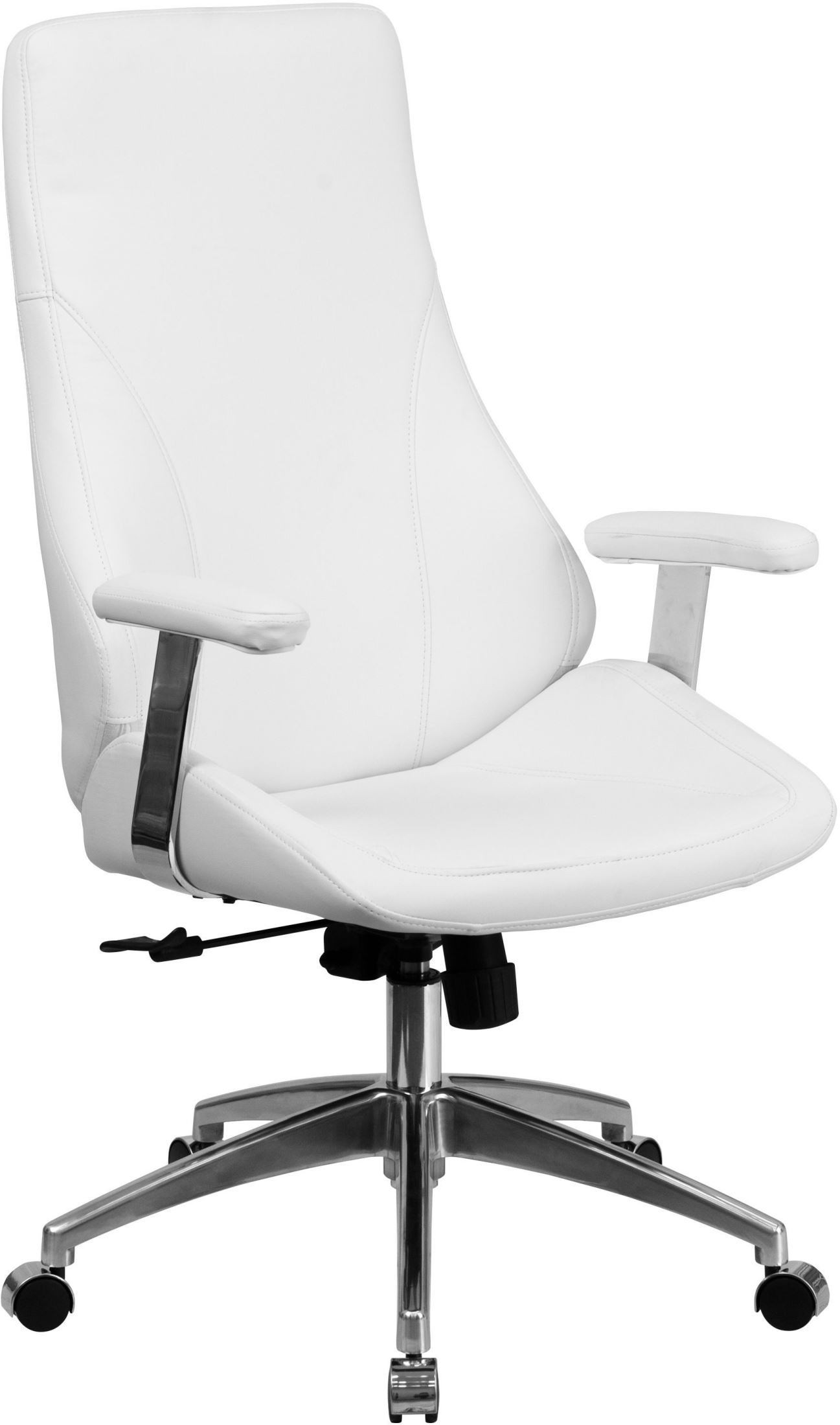 White Swivel Desk Chair High Back White Bonded Leather Executive Swivel Office