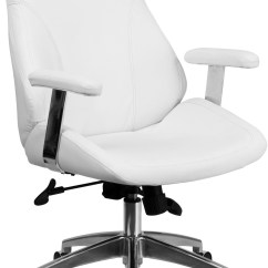Swivel Chair Executive Costco Mid Back White Leather Office With