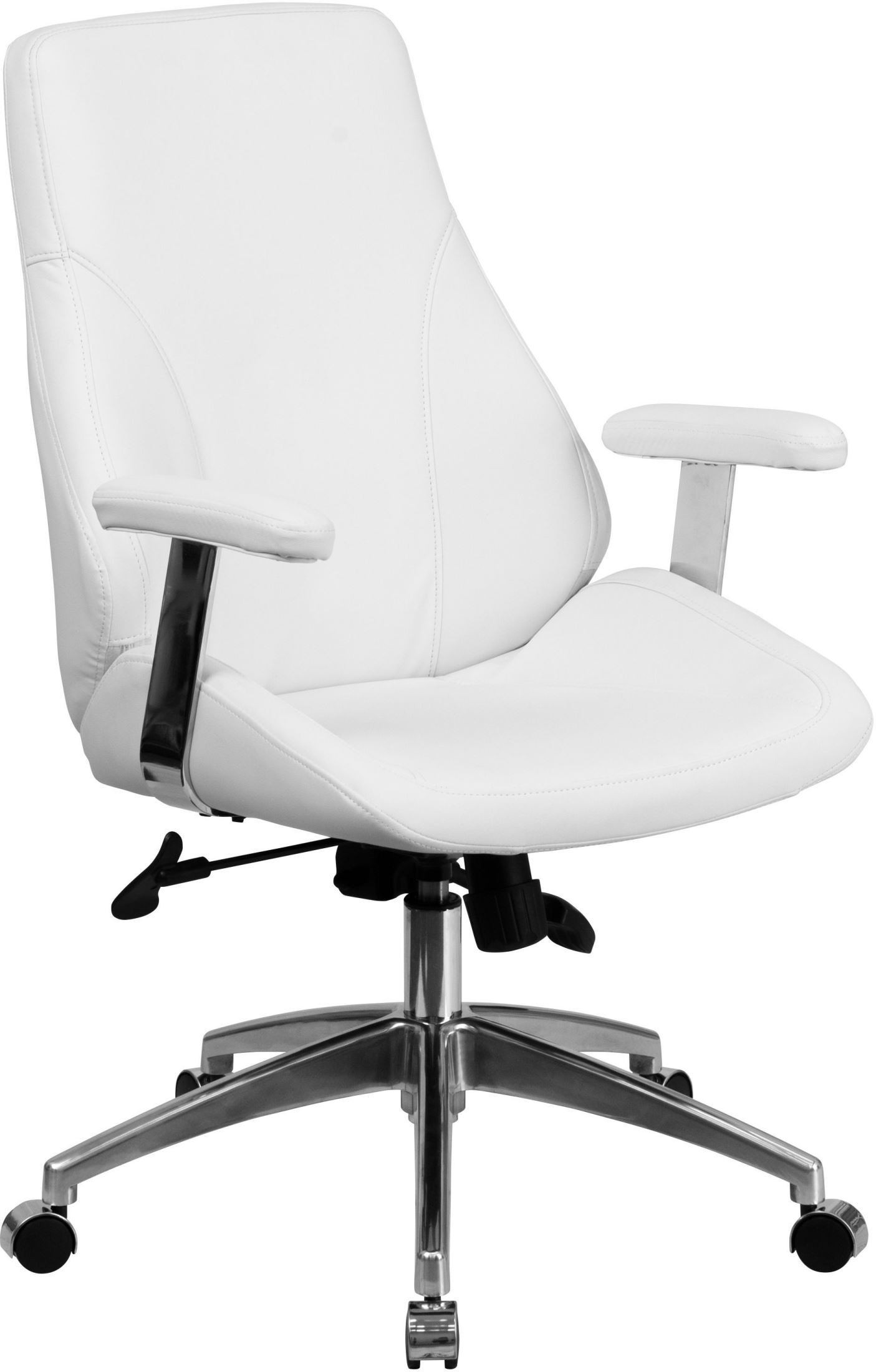 Office Chairs White Mid Back White Leather Executive Swivel Office Chair With
