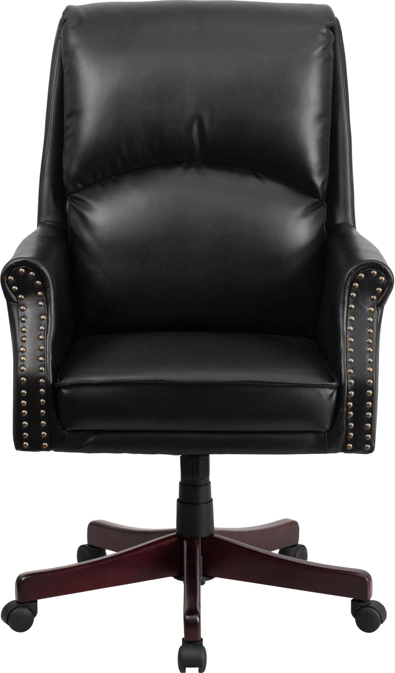 tall swivel chair queen anne style recliner pillow back black executive office from