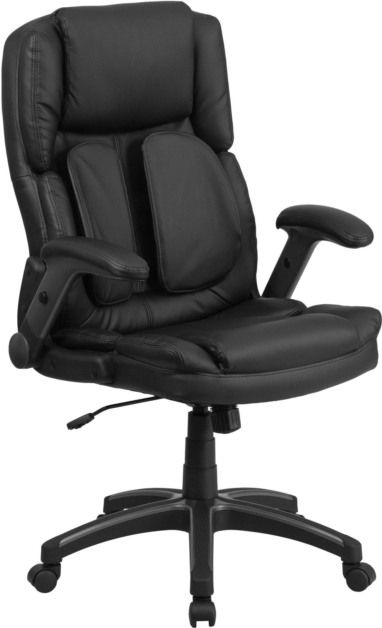 coleman lumbar quattro chair office chairs home depot extreme comfort high back black executive flip up arms