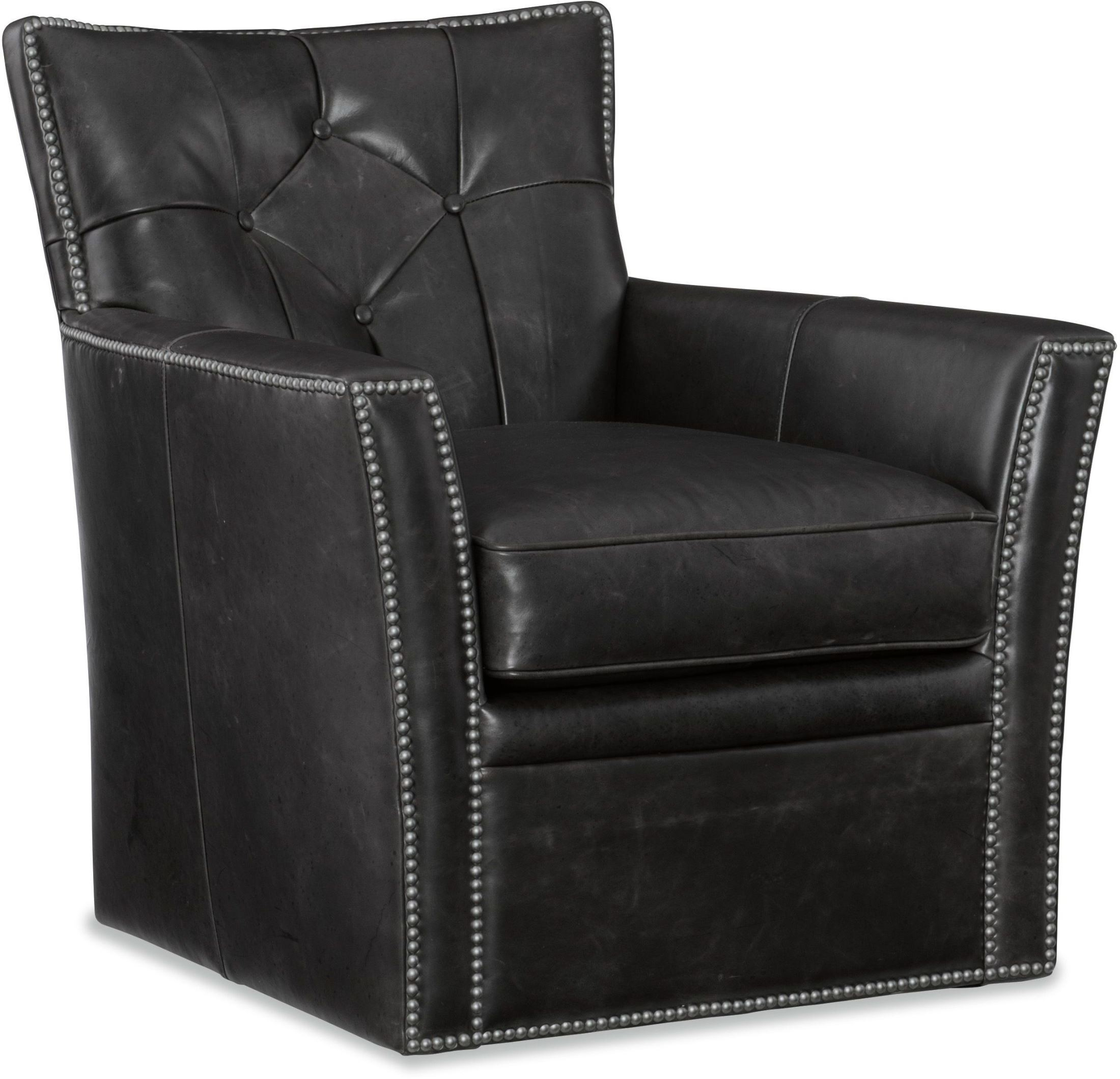 Conner Black Leather Swivel Club Chair from Hooker