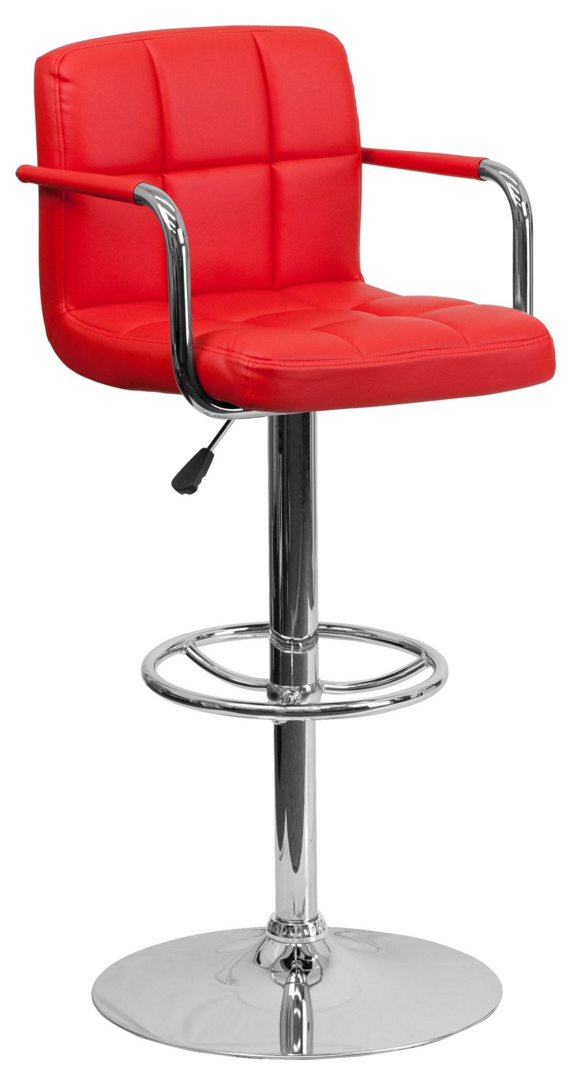 Red Counter Height Chairs Red Quilted Adjustable Height Arm Bar Stool From Renegade
