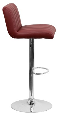 Burgundy Vinyl Adjustable Height Bar Stool, CH-112010-BURG ...