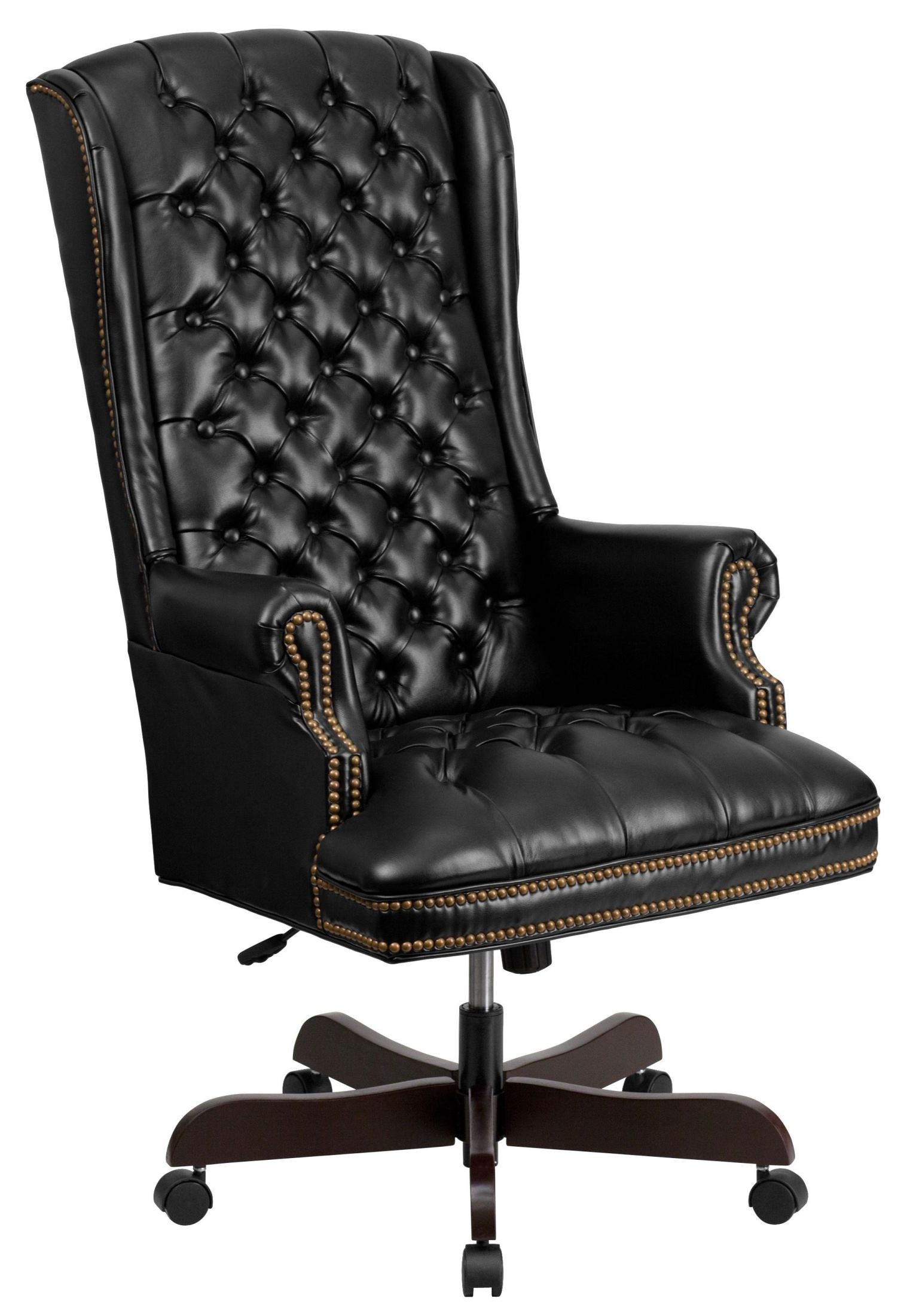 Tufted Leather Chair 360 High Back Tufted Black Leather Executive Office Chair