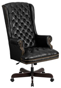 360 High Back Tufted Black Leather Executive Office Chair ...