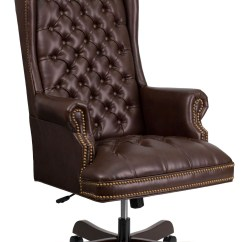 Executive Brown Leather Office Chairs Posture Seat Pillow 360 Brn High Back Tufted