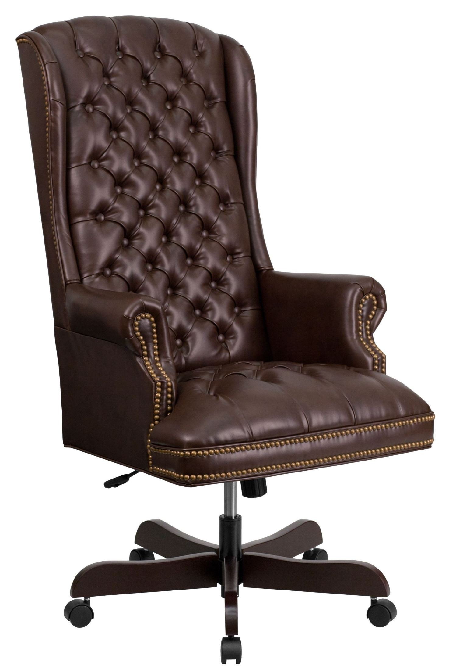 Brown Leather Office Chairs 360 Brn High Back Tufted Brown Leather Executive Office