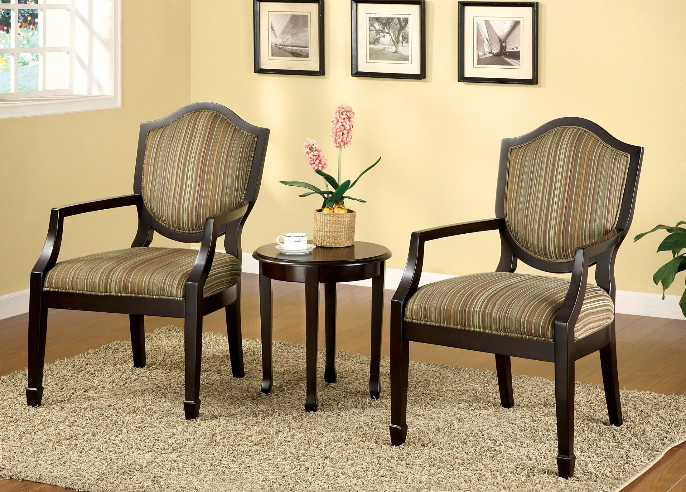 Bernetta II Espresso 3 Piece Accent Table  Chair Set from