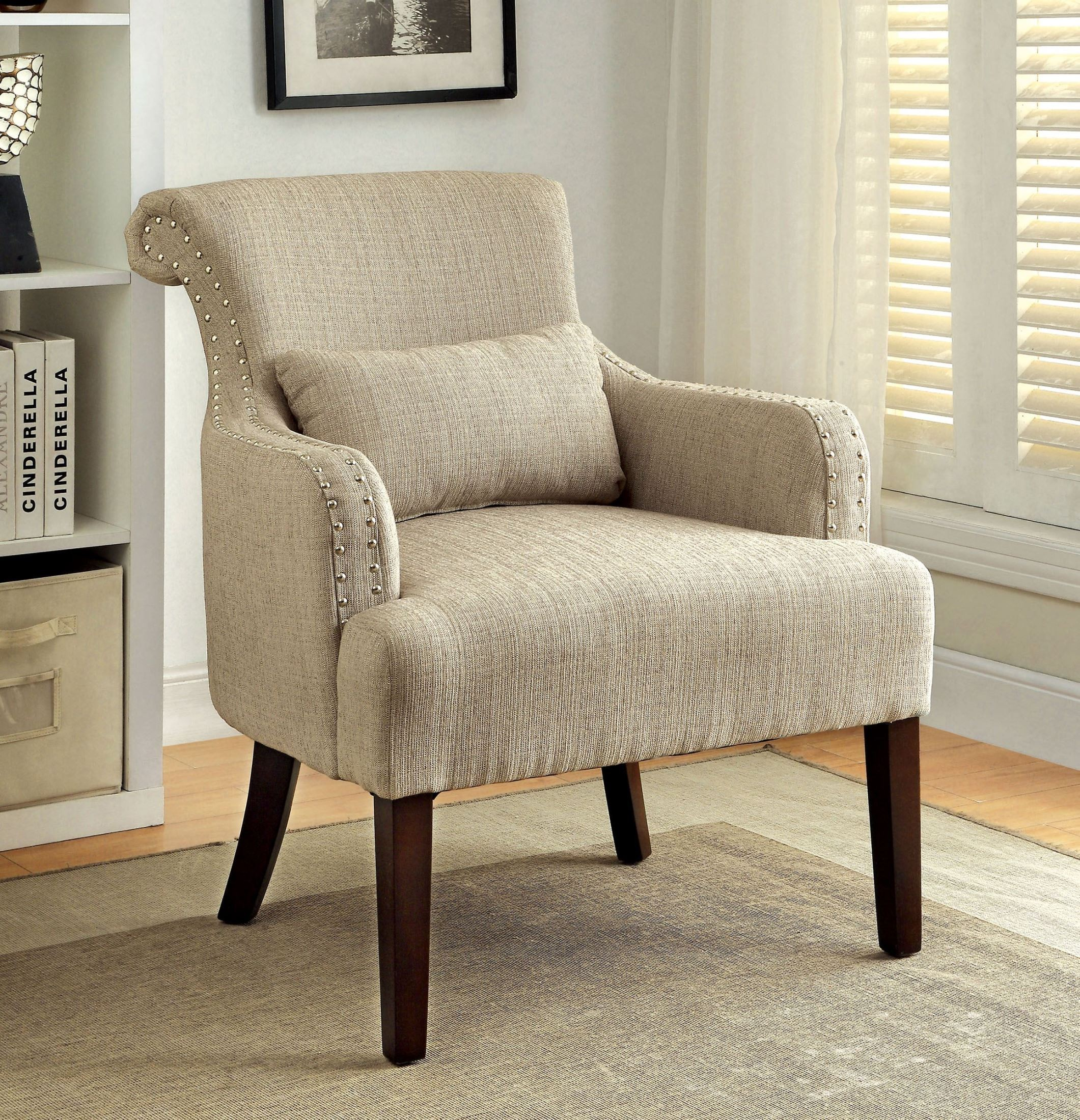 beige accent chairs arm chair slip cover agalva fabric from furniture of america