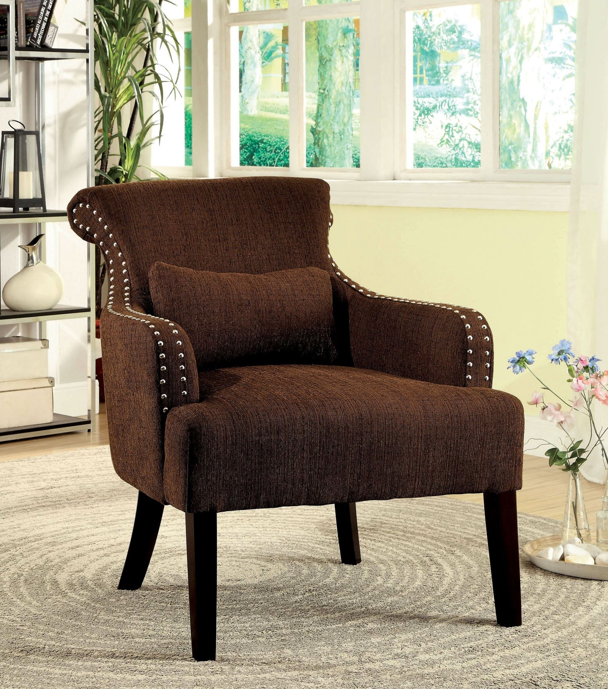 Agalva Brown Fabric Accent Chair from Furniture of America