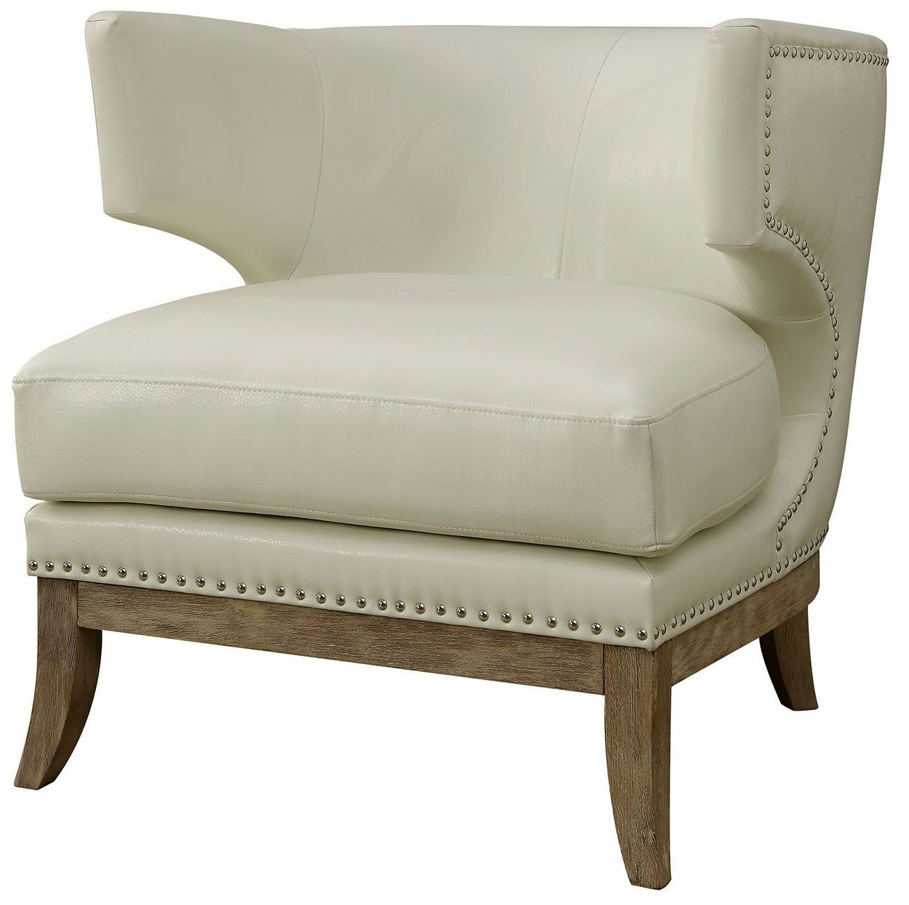 Pierre White Wingback Accent Chair CMAC6126 Furniture