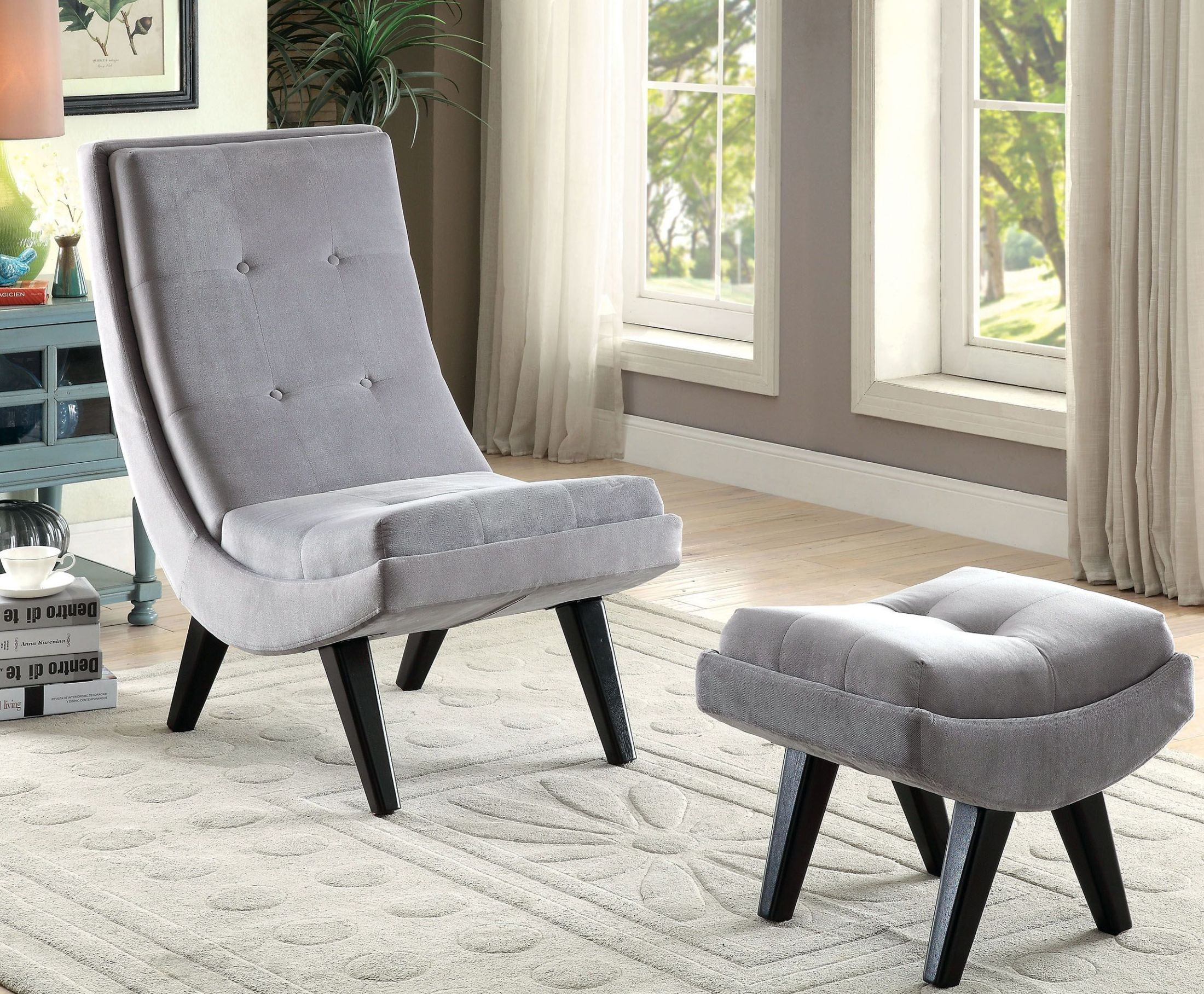 gray accent chair with ottoman balcony table and chairs esmeralda from furniture of