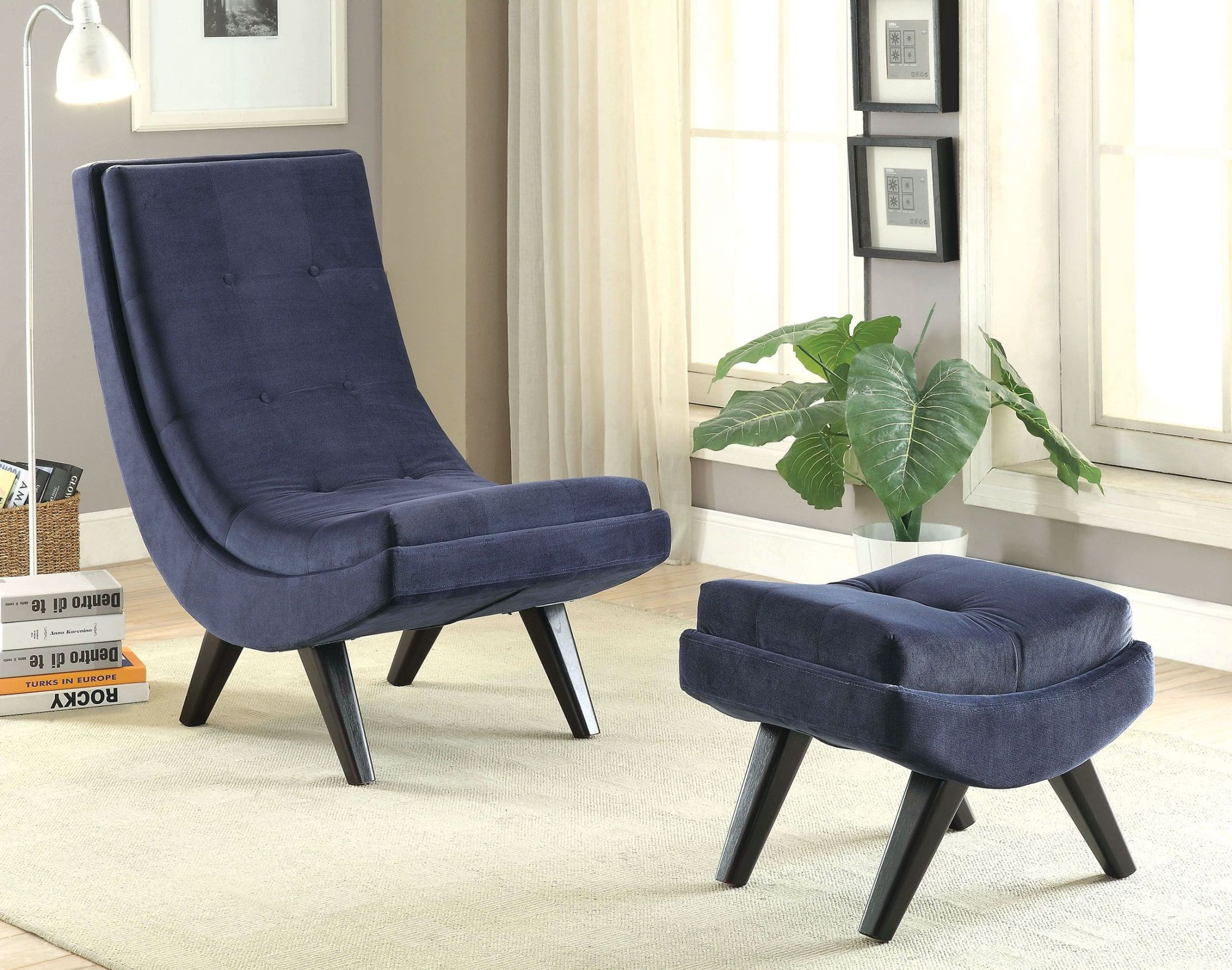 Navy Accent Chair Esmeralda Navy Accent Chair With Ottoman From Furniture Of
