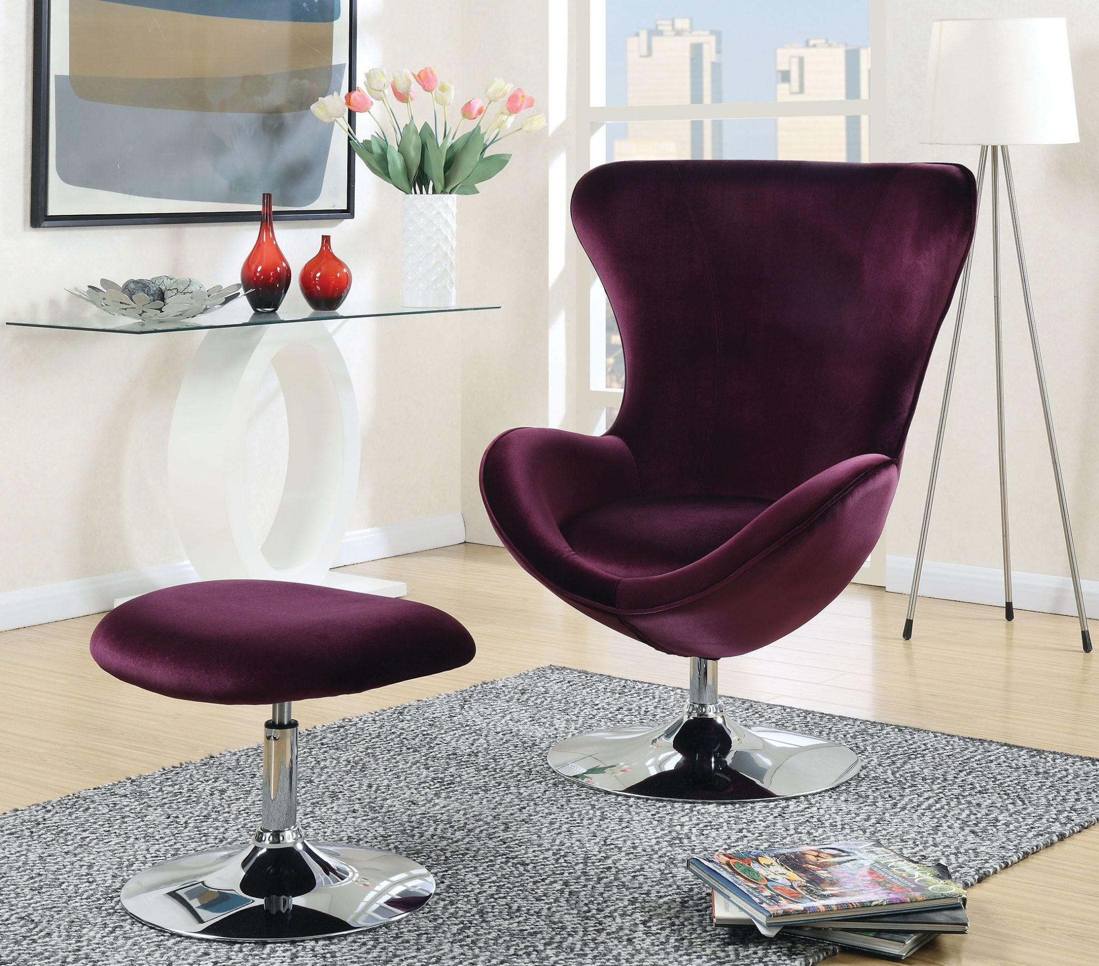 purple accent chair sleeper chairs south africa eloise with ottoman from furniture of