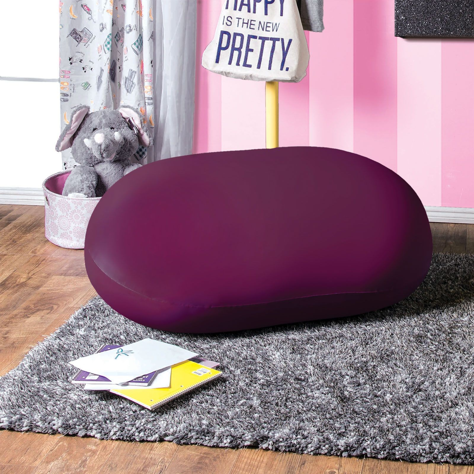 purple bean bag chair linen chairs for sale rimrock from furniture of america