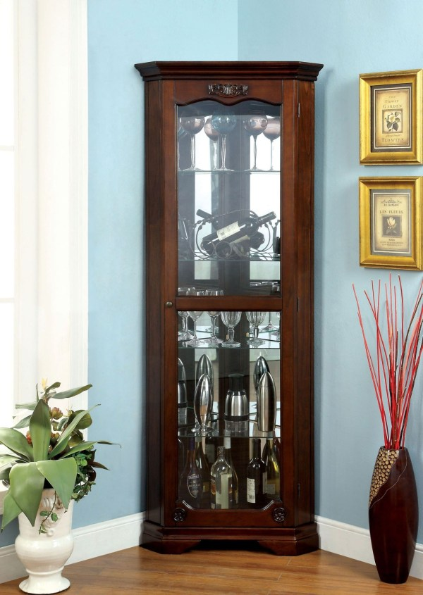 Ortley Walnut Curio Cabinet Furniture Of America Cm-cr133 Coleman
