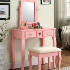 Pink Vanity Chair La Z Boy Chairs South Africa Francine With Stool Cm Dk6430pk Furniture Of