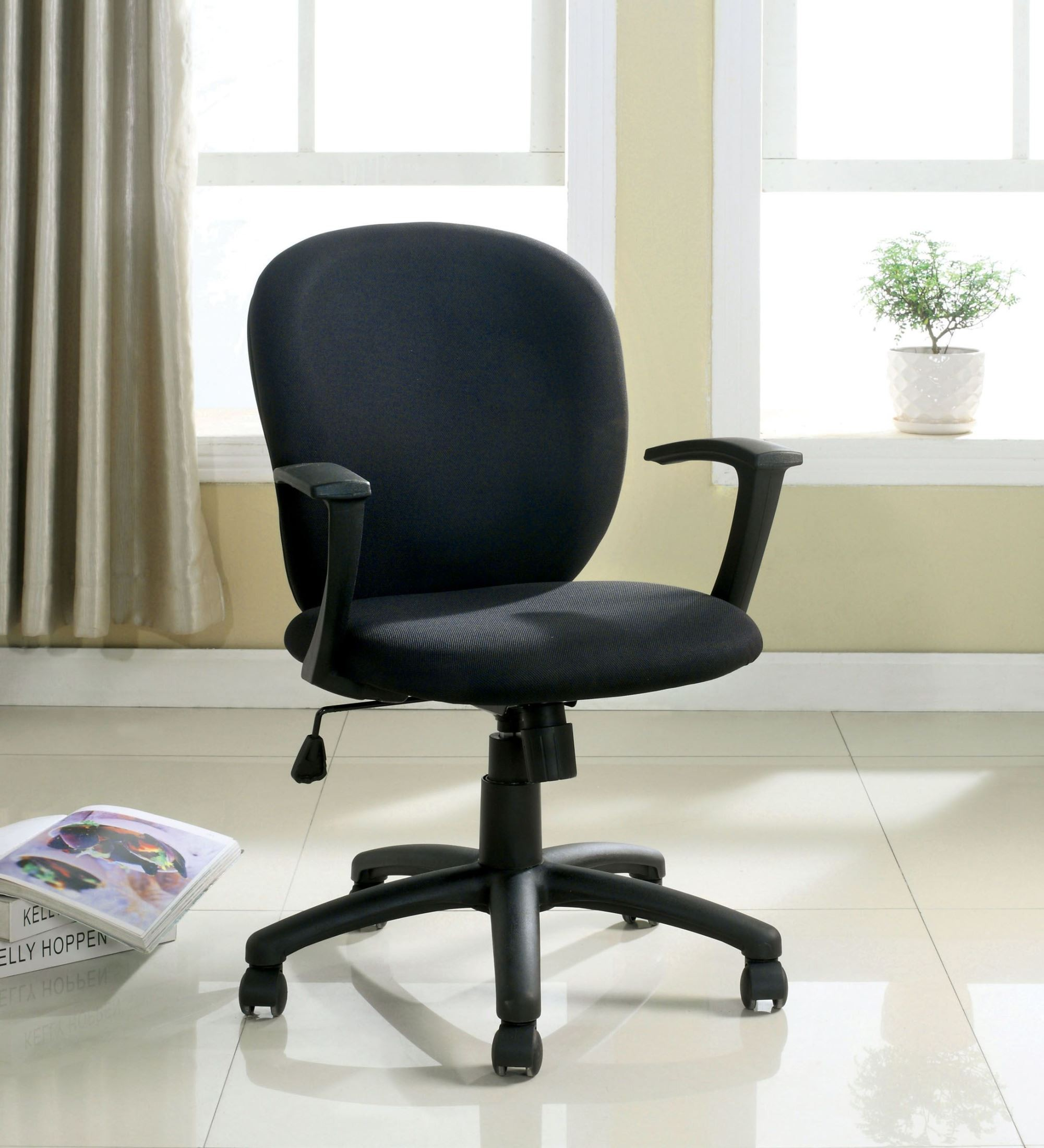 fabric for office chair upholstery bedroom big w polloc black from furniture of america