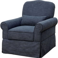 Blue Glider Chair High Top Table And Chairs Lesly Dark 360 Swivel Reclining From