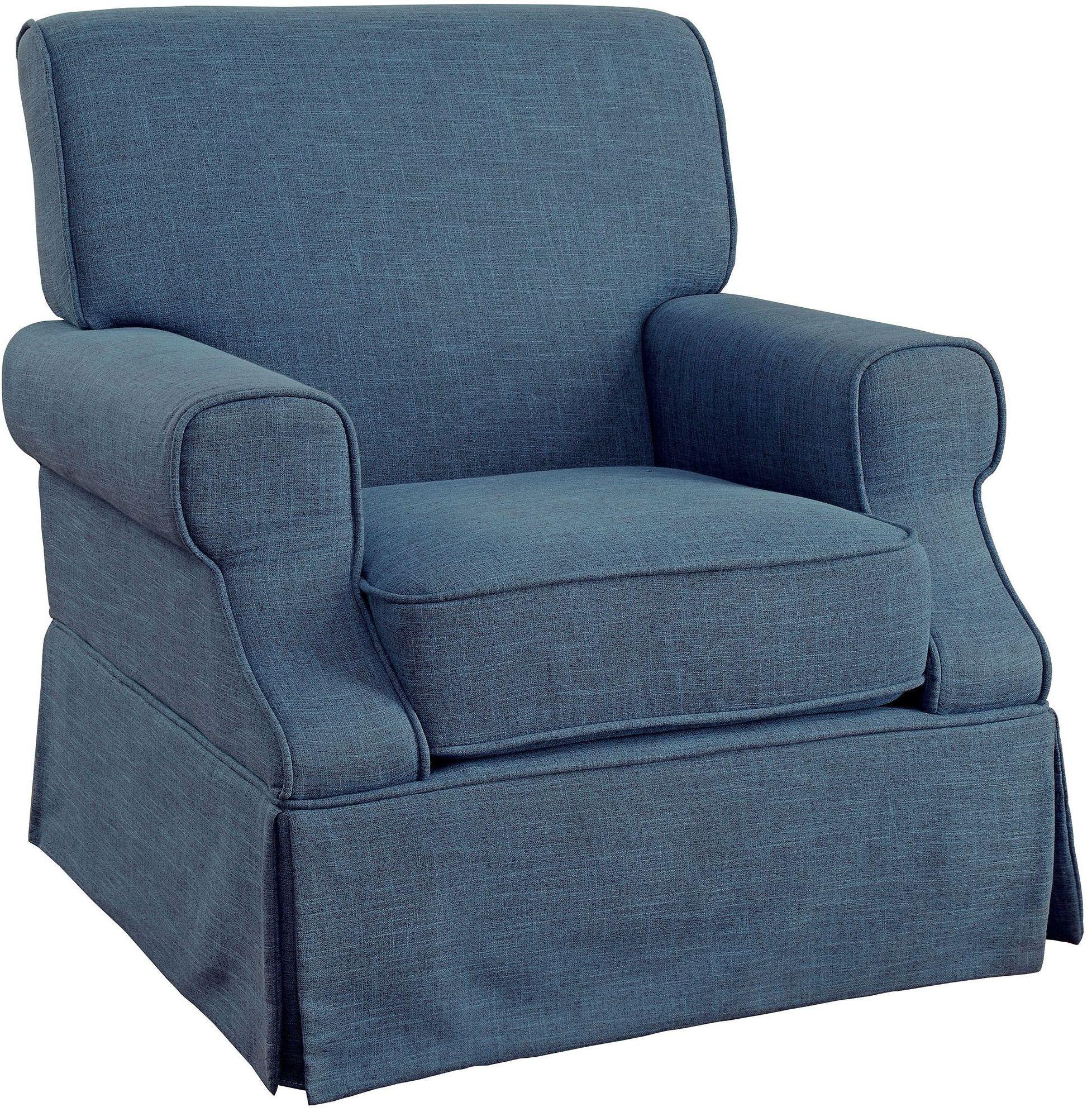 Leela Blue 360 Swivel Glider  Rocker Chair from Furniture