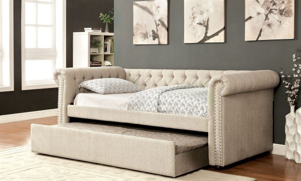 Leanna Beige Trundle Daybed Furniture Of America