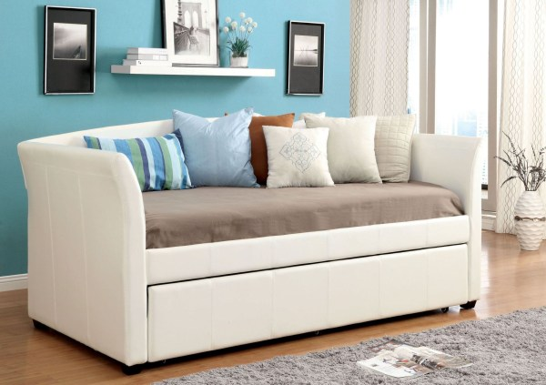 Delmar White Twin Trundle Daybed Furniture Of America