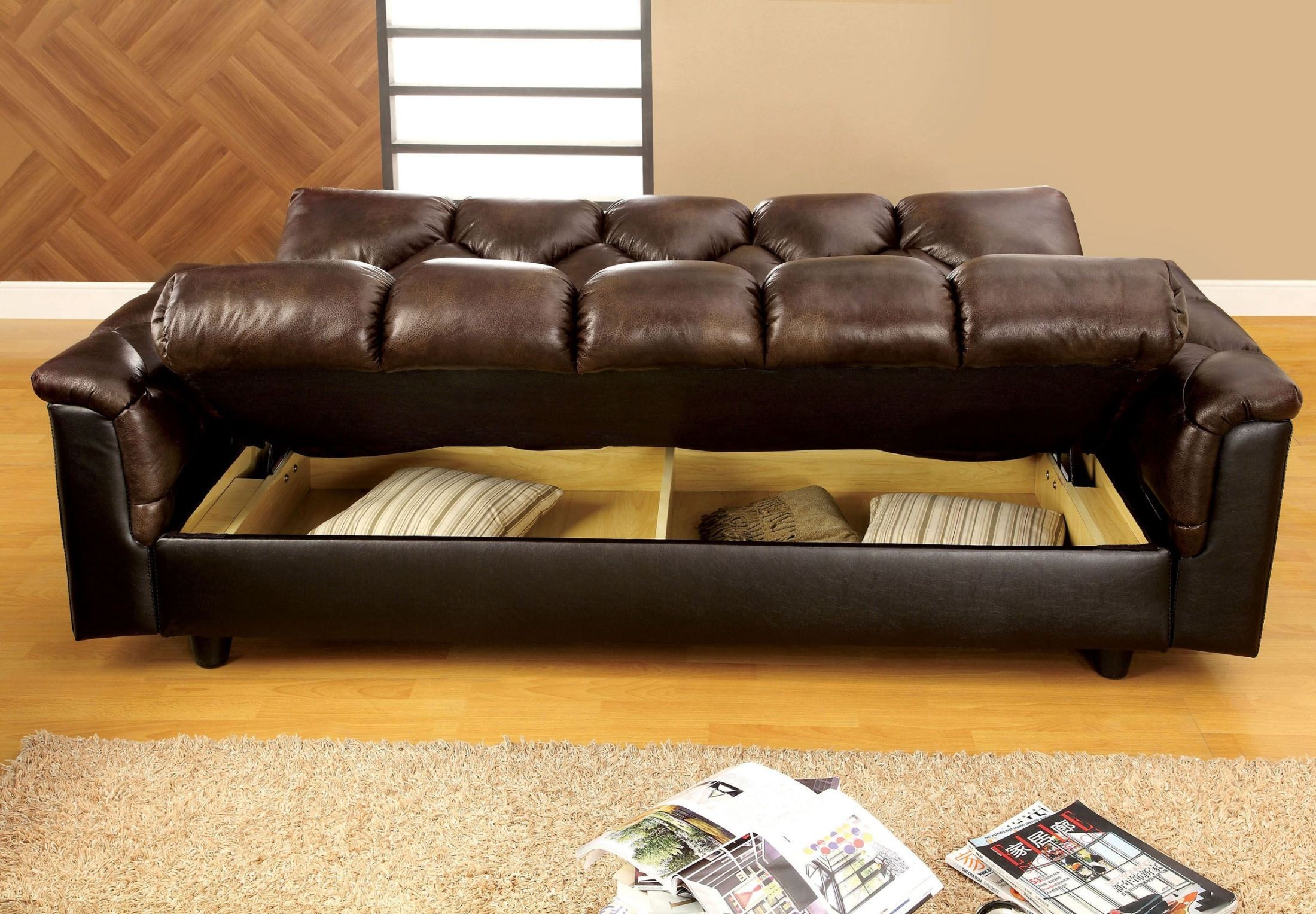 crawford futon sofa bed with storage natuzzi edition collection leather reviews bowie brown like from furniture