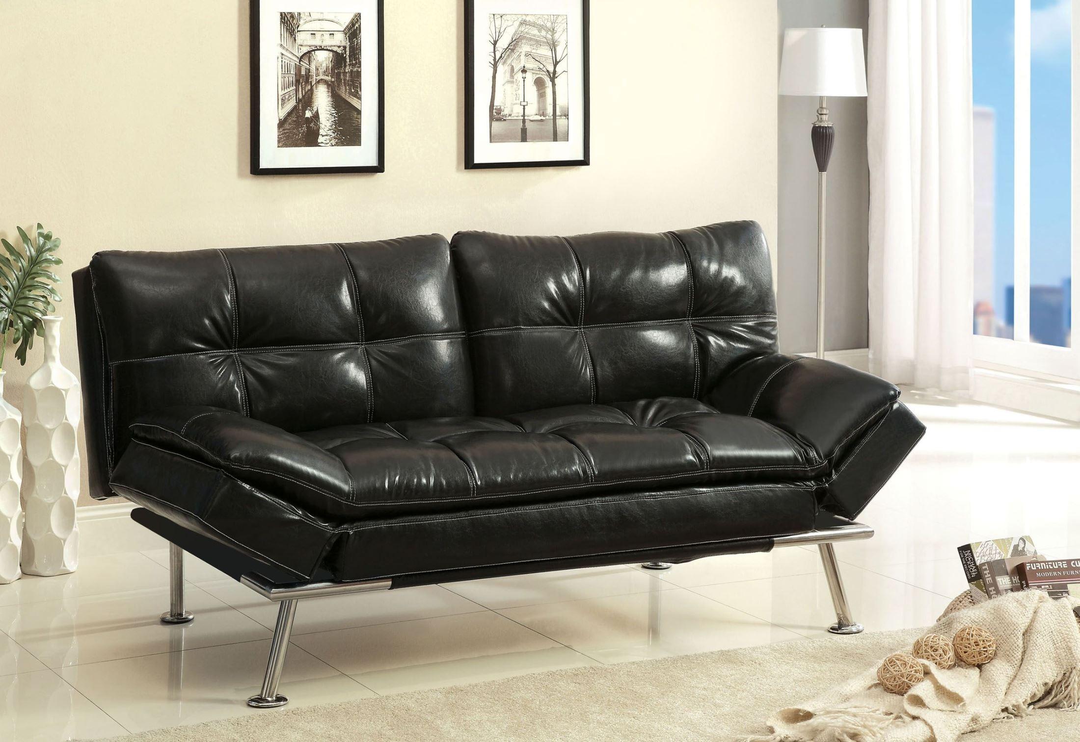 leatherette sofa sectional sofas canada leon s benik black futon from furniture of