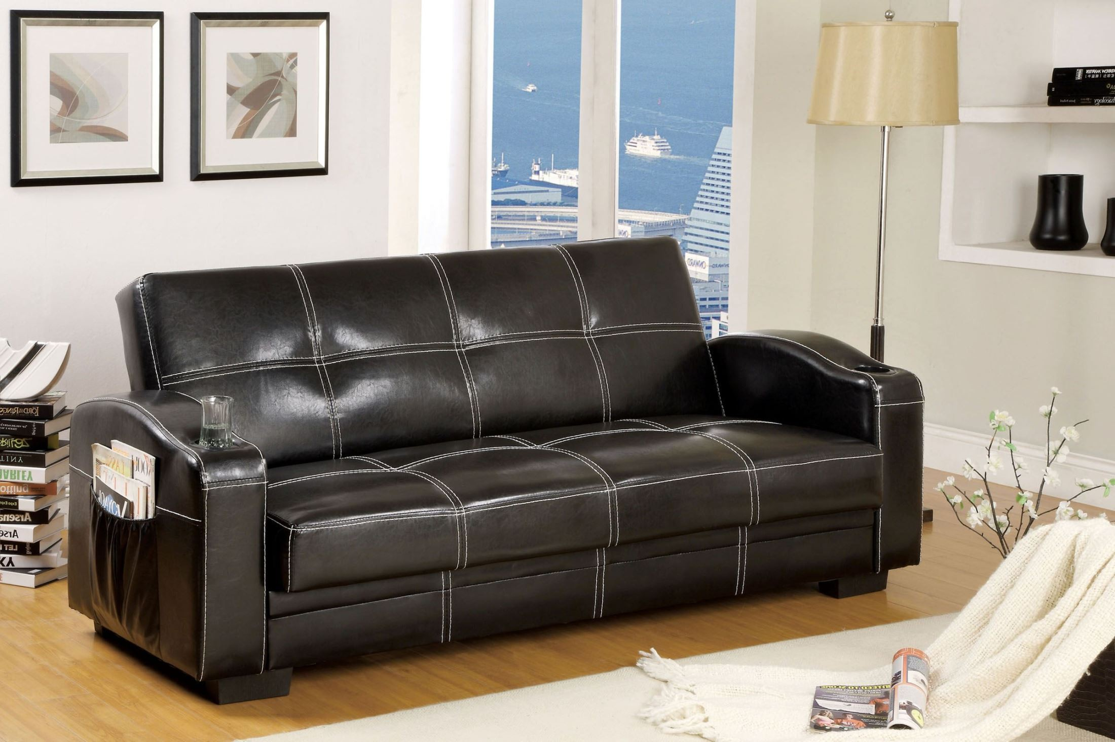 leatherette sofa durability southern motion velocity reclining colona black storage futon from furniture