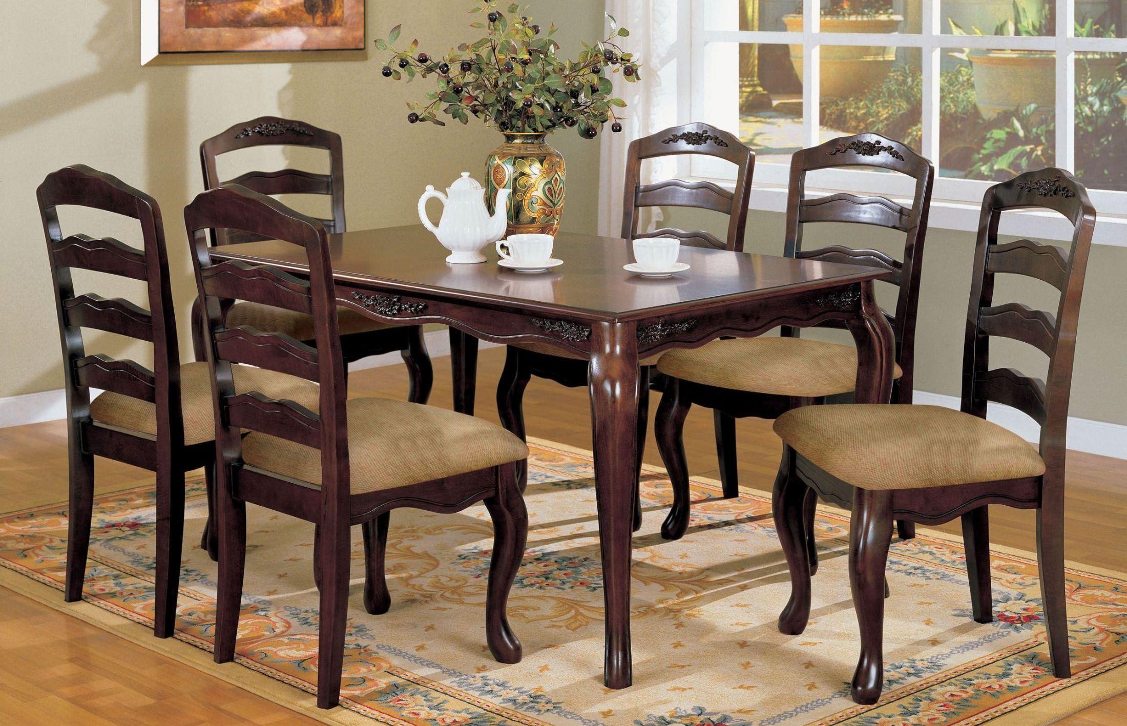dark walnut dining chairs silver velvet and table townsville 60 quot rectangular leg room set
