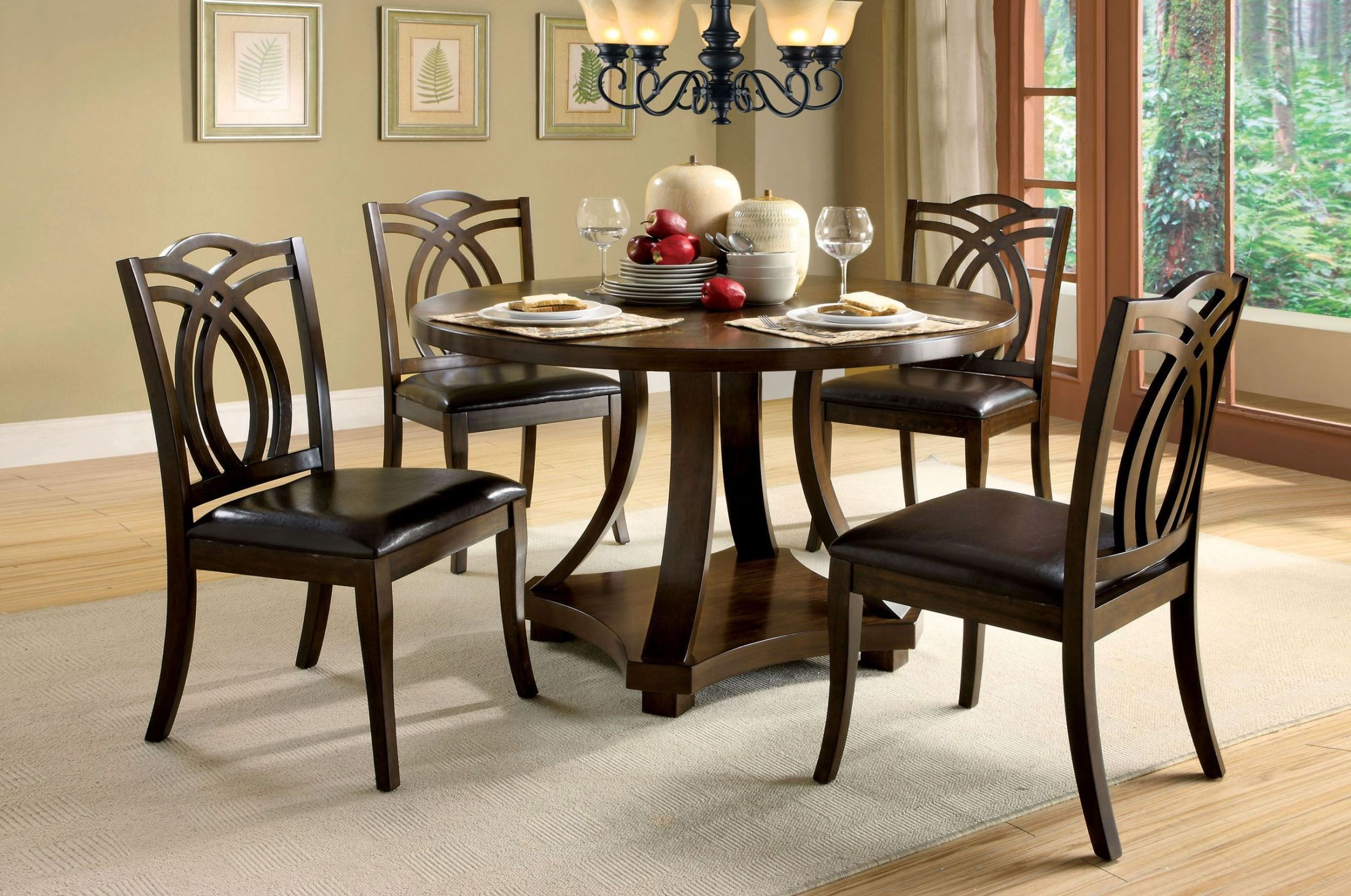 Keukenhof Dark Walnut Round Pedestal Dining Room Set