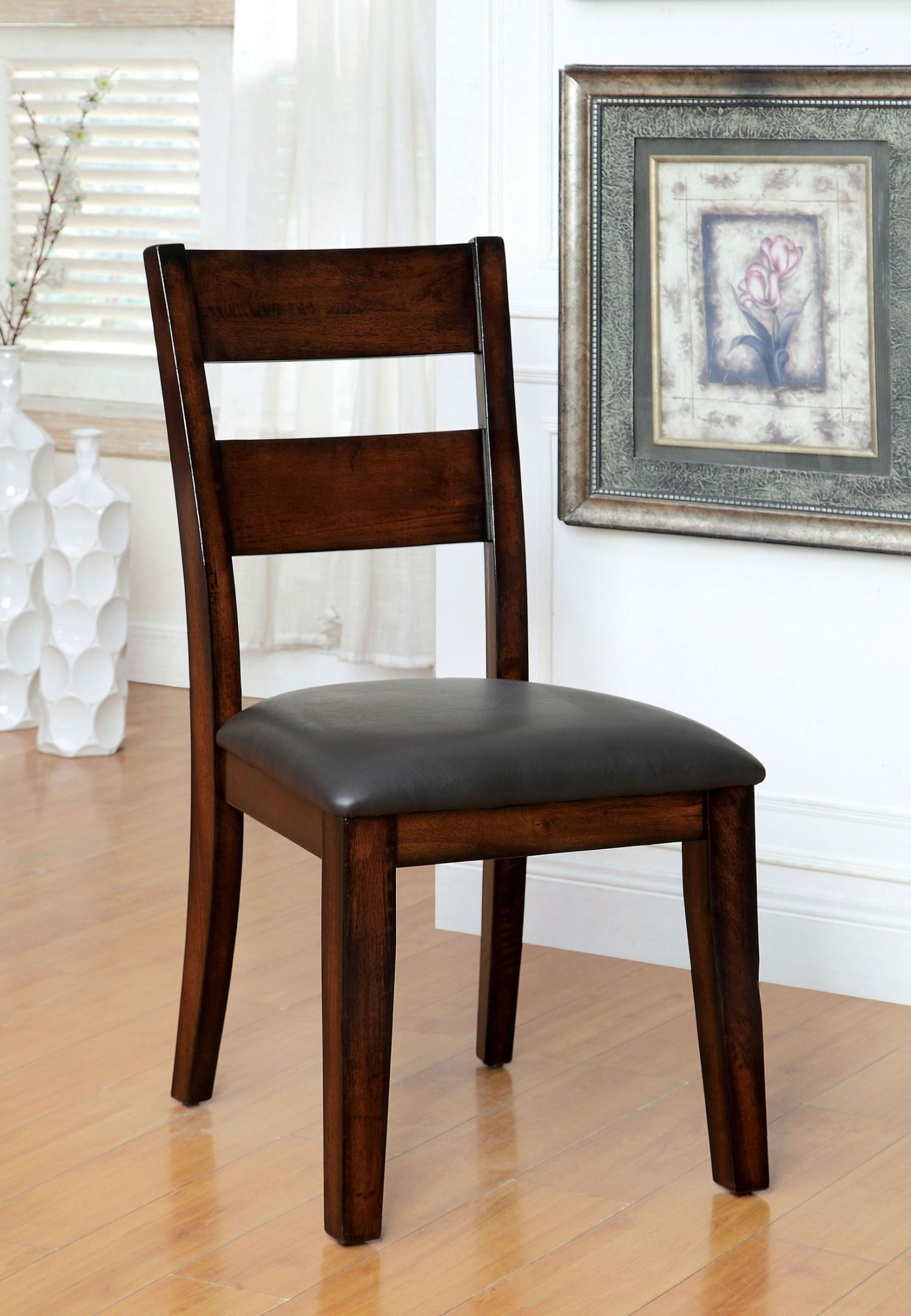 Cherry Chairs Dickinson I Dark Cherry Leatherette Side Chair Set Of 2